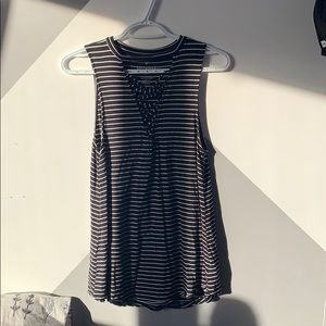 American eagle black and white striped shirt